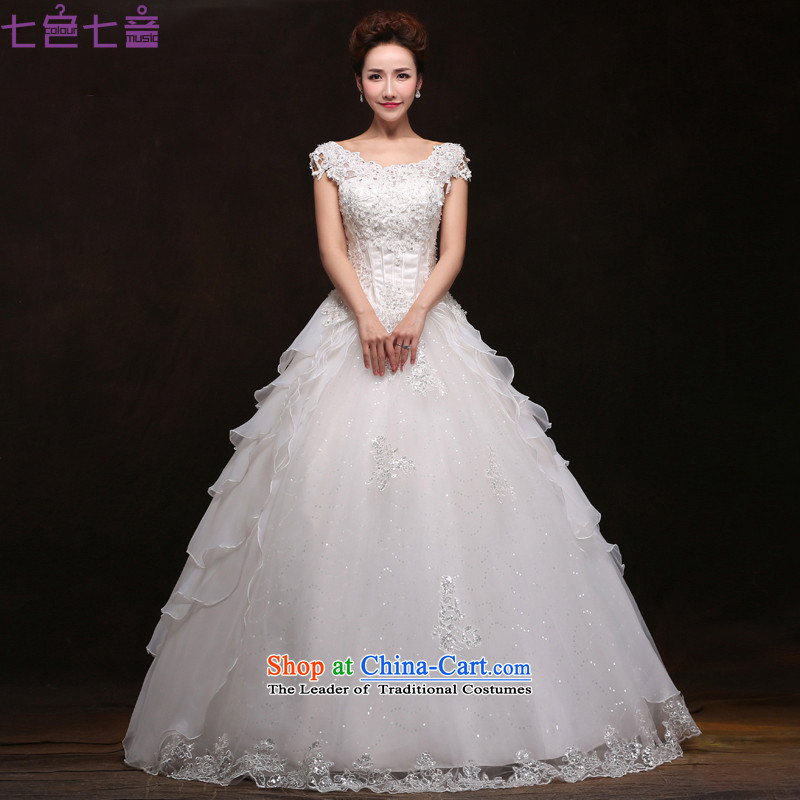 7 Color 7 tone won 2015 New bride version of the word   retro Korean shoulder lace align to shoulder wedding dresses聽H061聽white聽S