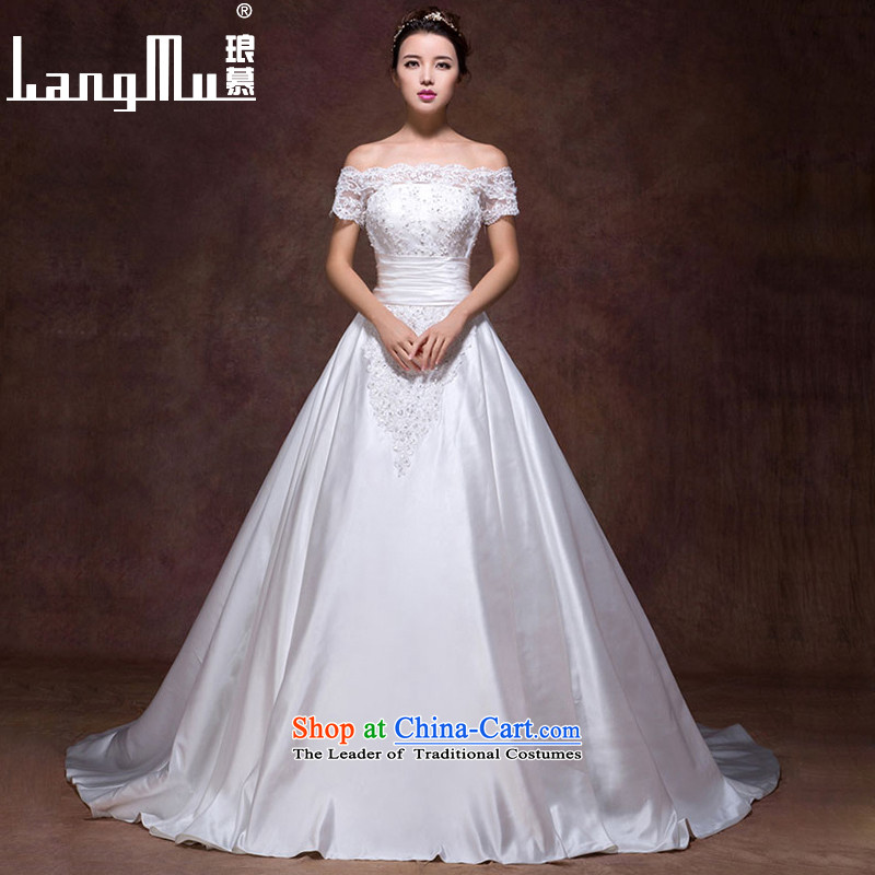 The new 2015 Luang wedding dress a field of thick breast tissue shoulder zipper tail stylish simplicity, a wedding custom m White Advanced Customization