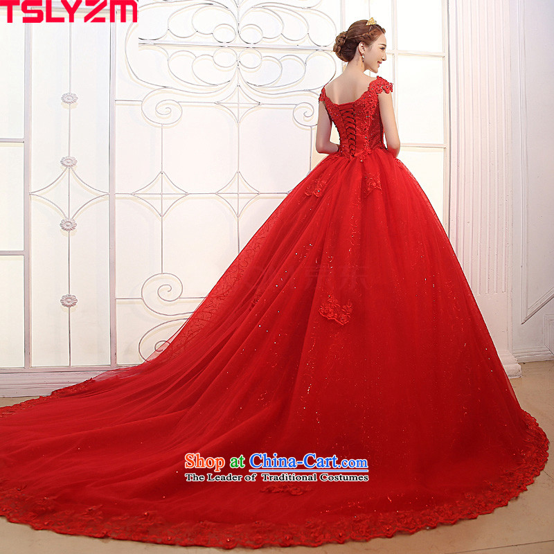 Tslyzm red wedding long tail shoulders 2015 dulls the new new product water drilling lace marriages wedding dress?A?M
