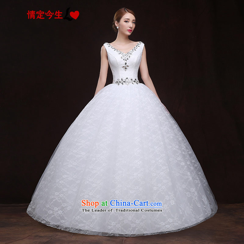 Maximum Number of Temporal wedding dresses 2015 new Korean sexy V-Neck diamond lace back pregnant women custom wedding dress White?XL