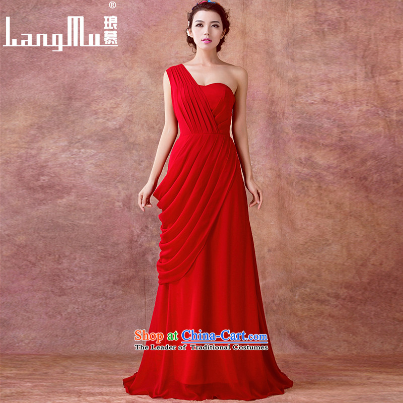 The new 2015 Luang bride wedding dress bows services will meet in evening dress suit long long skirt wine red Advanced Customization