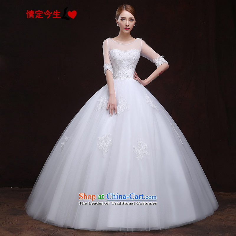Love of the overcharged wedding dresses 2015 new spring and summer elegant lace a shoulder bolts pearl field diamond bon bon skirt Foutune of video thin straps, White聽M