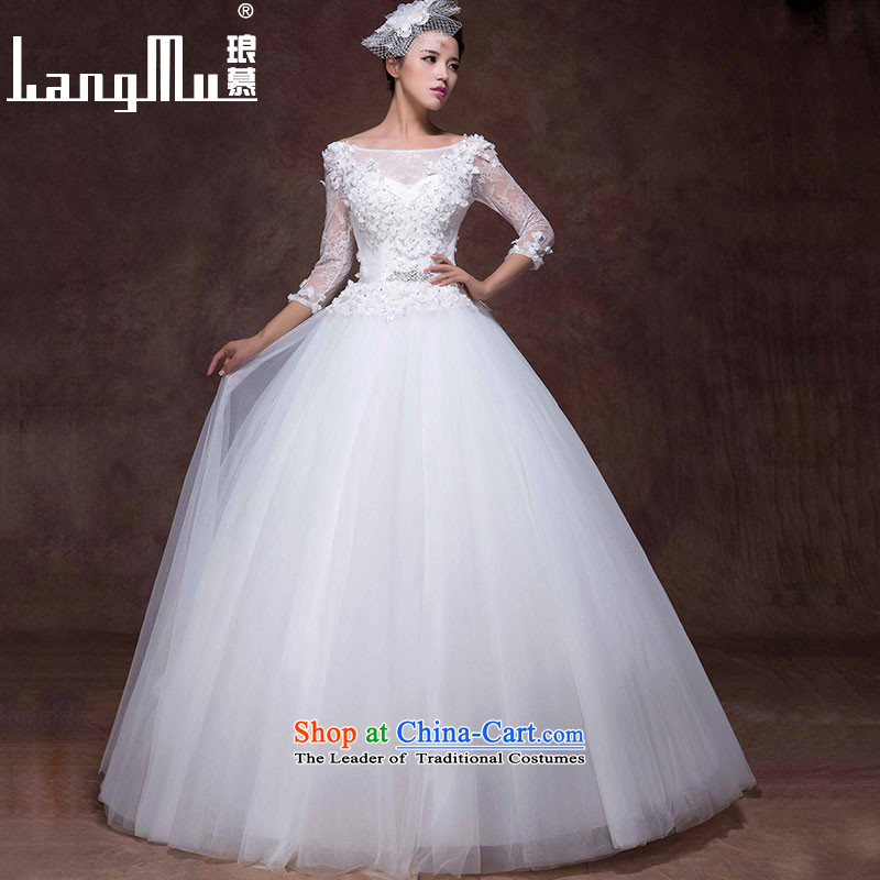 The wedding dresses Luang new stylish bride Korean 2015 word shoulder graphics thin manually align to bind with flowers fall and winter m White�L