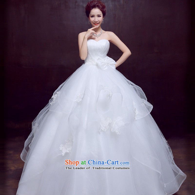 Wedding dresses new 2015 autumn and winter wiping the chest to marriages wedding video thin sweet butterfly Sau San Wedding White�XL