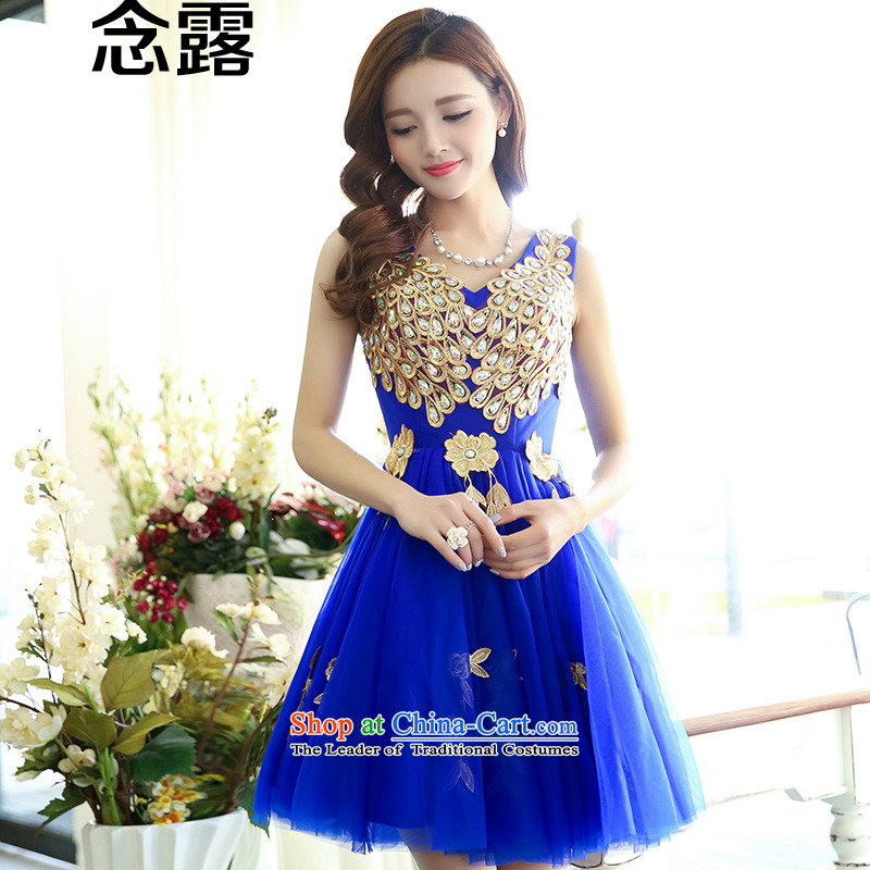 Mindful that the spring 2015 new terrace female Korean brides wedding sisters Sau San mission marriage evening dresses moderator annual performance small dress bon bon Princess Royal blue skirt�S
