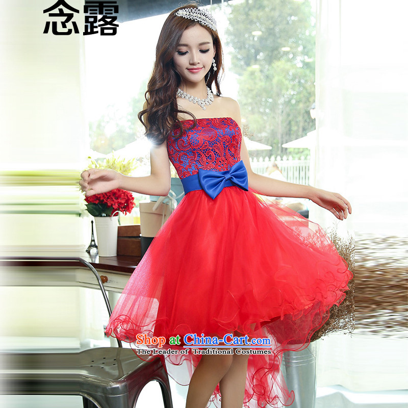 Mindful that the spring 2015 new terrace female Korean anointed chest-tail Princess Bride skirt bridesmaid lace wedding dress small spring and summer Sau San dovetail suits skirts red with the L