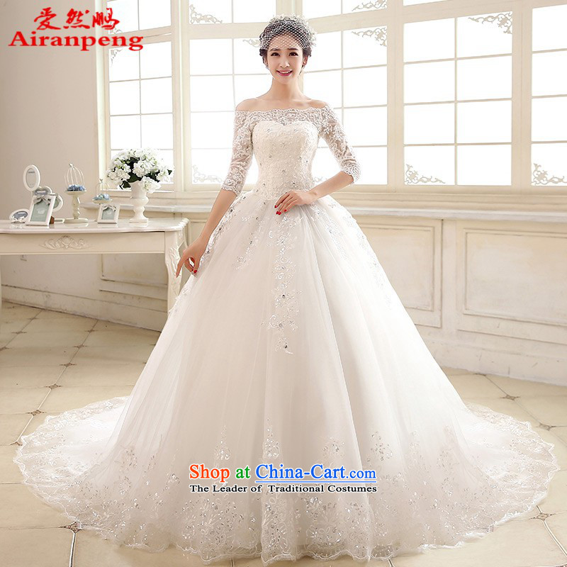 Love So Peng bride wedding dresses new spring 2015 long tail of a field in the shoulder cuff lace video thin were 21.8 tail customers to do not returning the size to