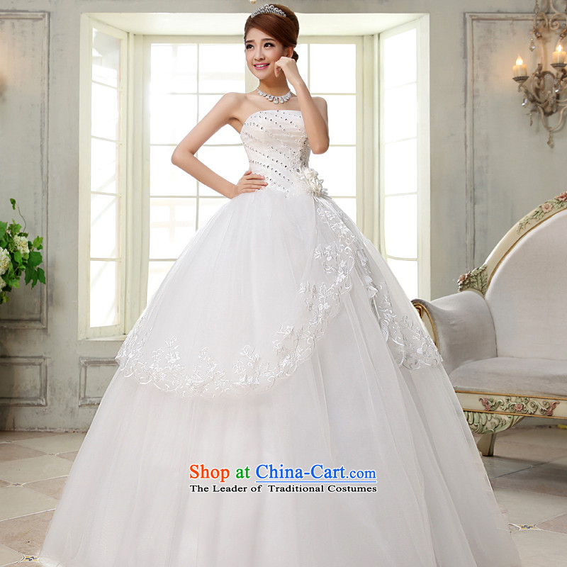 The privilege of serving-leung聽2015 new bride stylish anointed chest wedding dress princess sweet simple to align the wedding White聽2XL