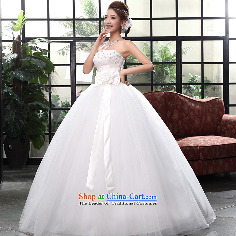 The privilege of serving-leung 2015 NEW Summer Wedding marriages to erase a bow tie to align the chest princess bon bon skirt wedding White�2XL
