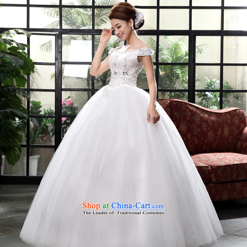 2015 new marriages to align the wedding of a field shoulder princess bon bon skirt wedding dress White 2XL