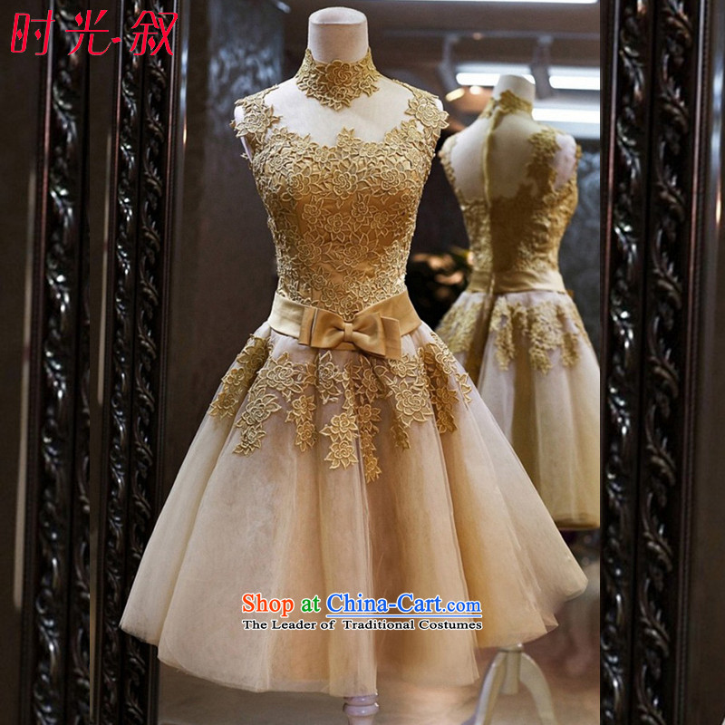Time the word Syrian brides stylish shoulder gold lace short dinners banquet annual meeting of persons chairing the wedding night wear small dress new 2015 Gold?XL