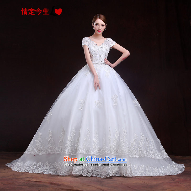 Maximum number of this life 2015 wedding smearing the word shoulder V-Neck Strap lace romantic spring and summer, Korean made wedding dress female White XL