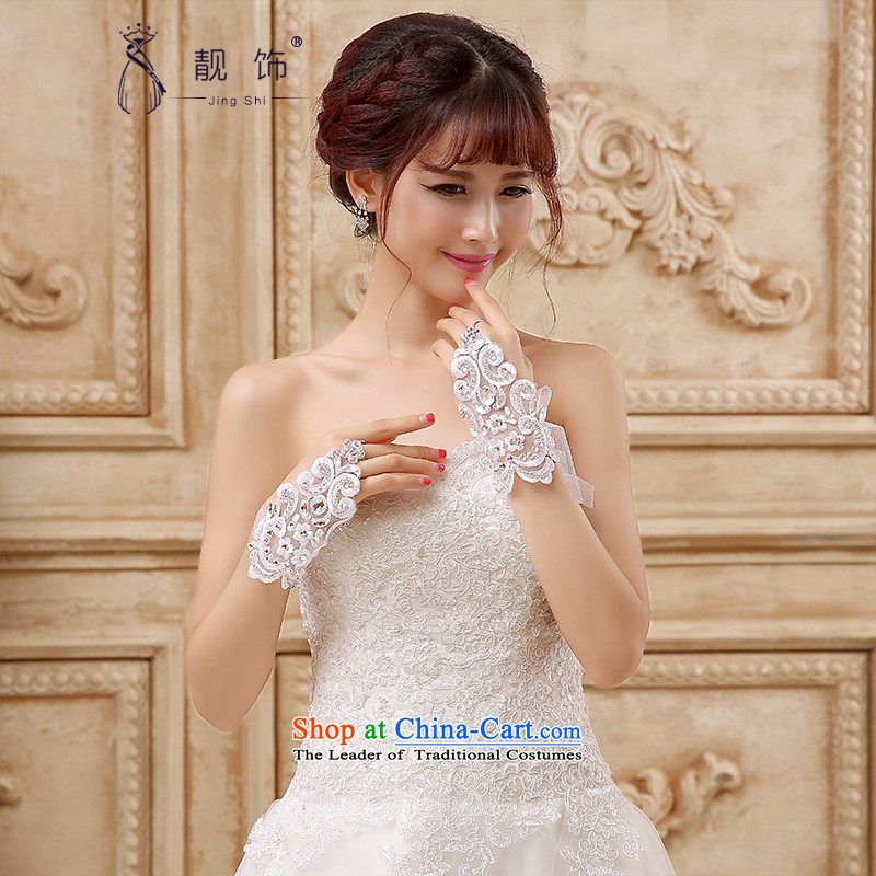 The new 2015 International Friendship Deluxe lace water drilling bride short-mittens wedding accessories accessories white gloves�097