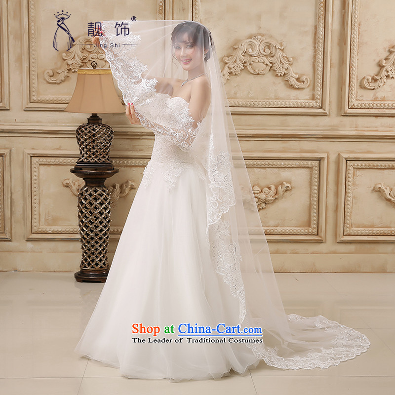 The new 2015 International Friendship white deluxe water drilling lace multi-tier dragging marriages long head yarn wedding accessories accessories long white) 87