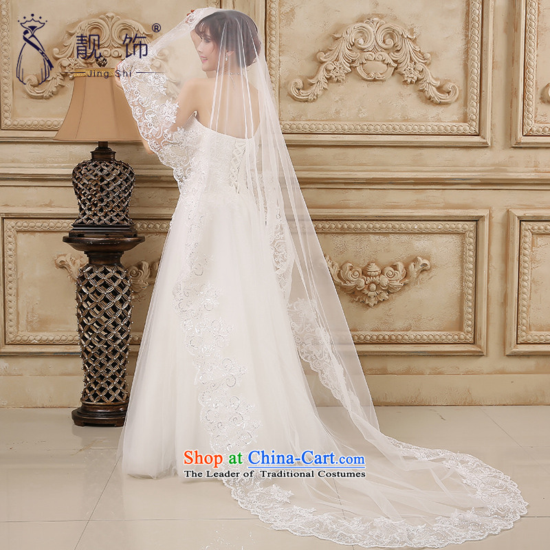 The new 2015 International Friendship white deluxe water drilling lace multi-tier dragging marriages long head yarn wedding accessories accessories white long 087, talks trim (JINGSHI) , , , shopping on the Internet