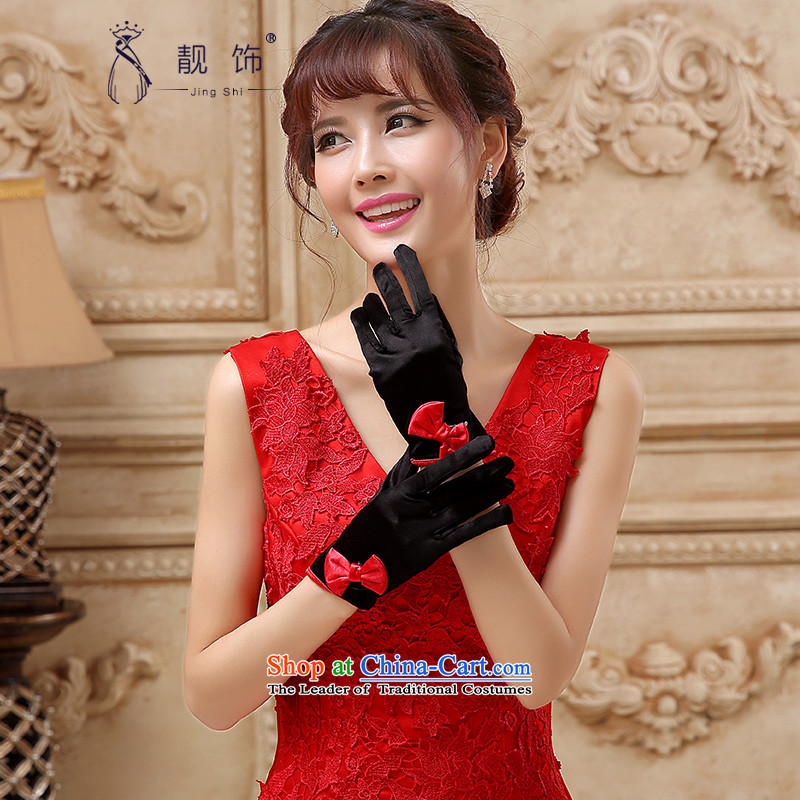The new 2015 International Friendship bride wedding dresses accessories accessories no means short black leather glove red five fingers gloves parquet�110