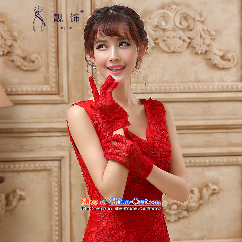 The new 2015 International Friendship bride red lace gloves wedding dresses accessories accessories red silk gloves short lei)�108