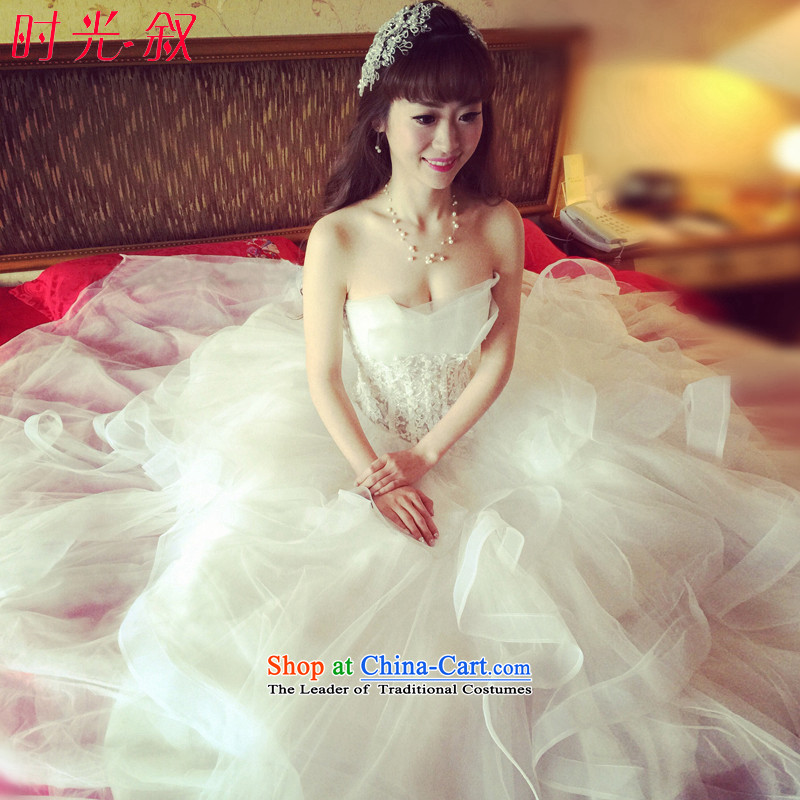 The Syrian Arab Republic and the Republic of Korea time wedding dress bride fluoroscopy sexy wiping the chest to align the Korean large princess bon bon skirt straps wedding dress women�2015 New White�XXL