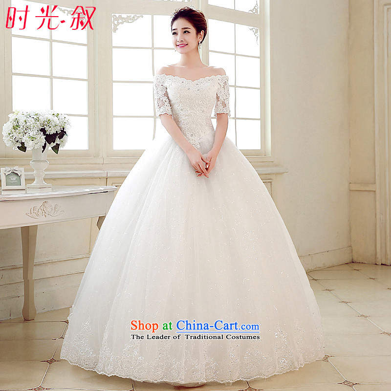 The Syrian Arab Republic and the Republic of Korea time wedding dress marriages long-sleeved wedding dresses of the word in the V-Neck cuff shoulder lace video thin diamond 2015 new white�L
