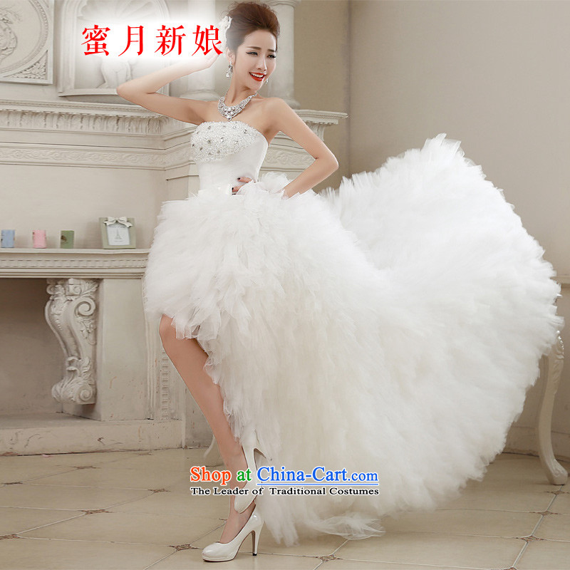 聽The spring of 2015, the bride honeymoon new wedding sexy wiping the chest after short tails wedding band wedding white聽S