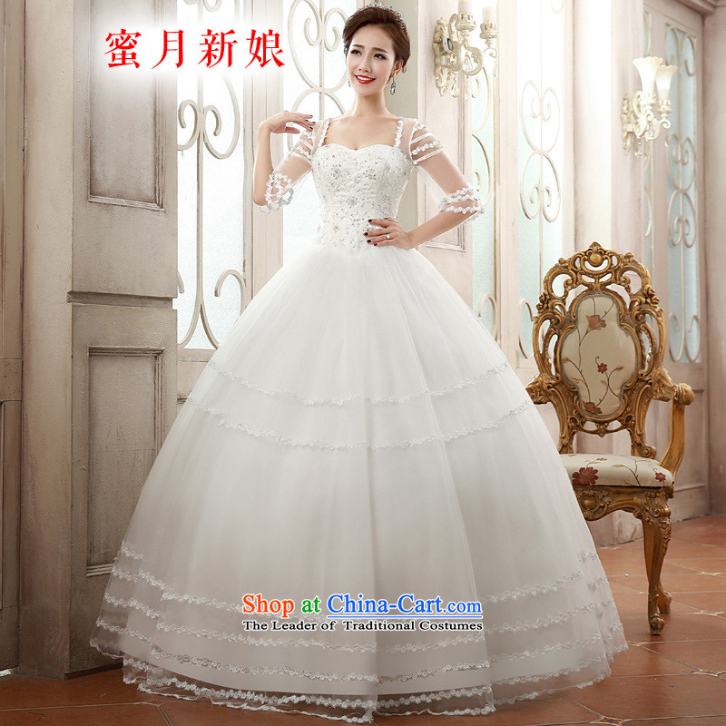 ?The spring of 2015, the bride honeymoon wedding dresses romantic wedding princess shoulders bon bon skirt wedding White?M