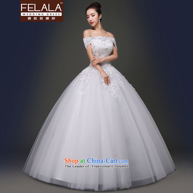 Ferrara in spring and summer 2015 new word elegant lace on-chip shoulder to align bon bon skirt wedding S(1 feet) of Ferrara wedding (FELALA) , , , shopping on the Internet