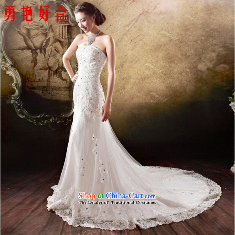 Yong-yeon and?2015 New Korean foutune crowsfoot strap embroidered tail bride wedding dresses handcrafted white?L