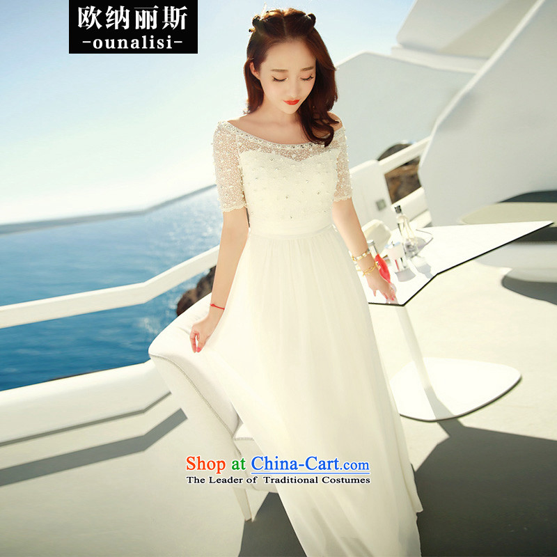 The OSCE, Alice�2015 new products white stylish chiffon lace dresses nail pearl bohemian long skirt video in thin waist evening dresses bridesmaid Service Bridal Wedding White�M