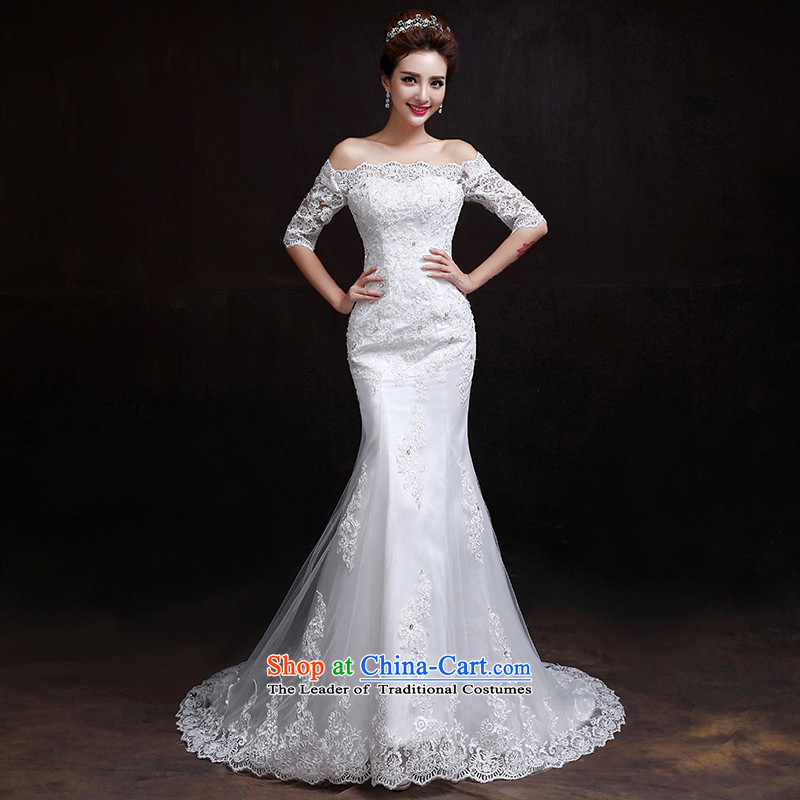 2015 new wedding crowsfoot) winter word   shoulder crowsfoot wedding in Korean cuff lace small trailing white wedding�S