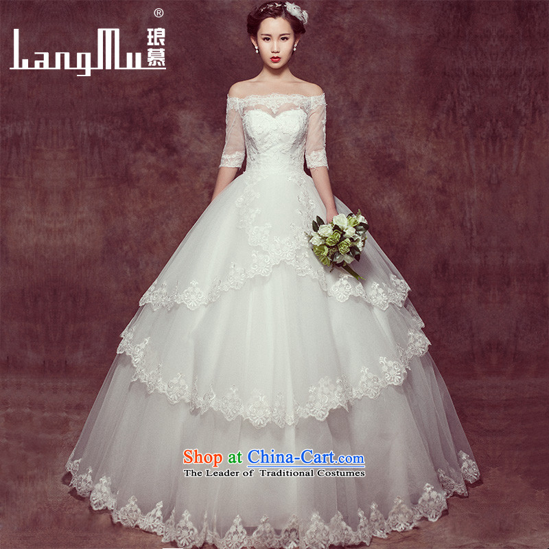 The new spring 2015 Luang stylish Korean wedding dresses simple word bride Sau San your shoulders to bride wedding custom m White?M