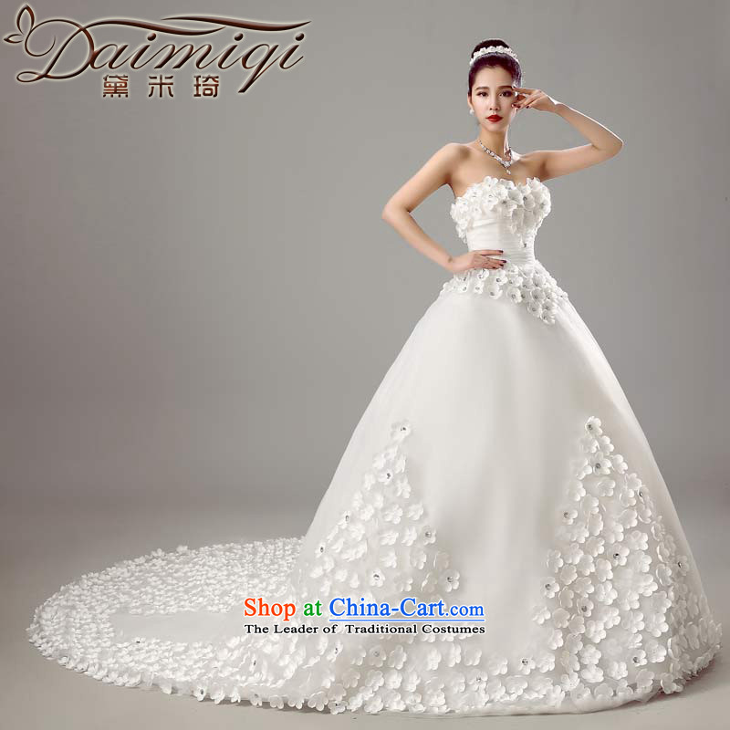 Doi m qi wedding dresses new bride 2015 Korean style wedding fashion video Sau San thin bride anointed chest tail wedding White XL