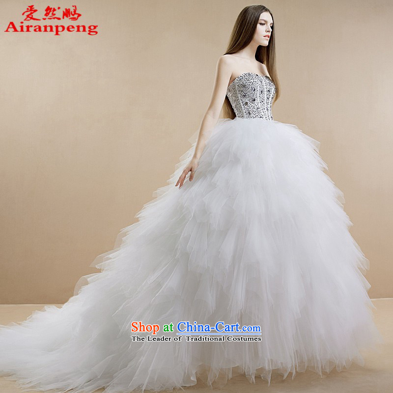 The new 2015 stylish diamond anointed chest feather long tail bride wedding dresses?need not be made XXL returning