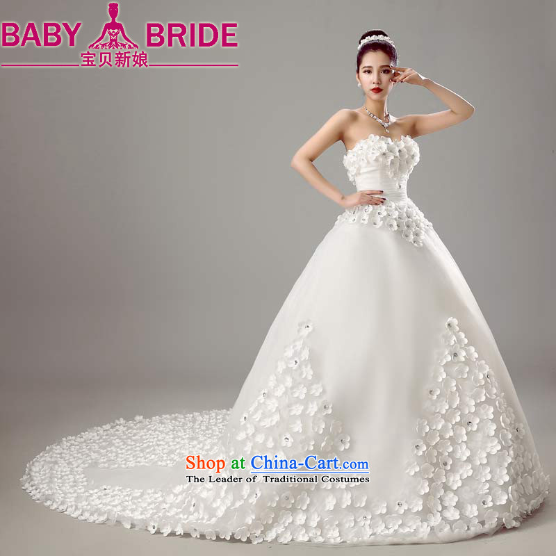 The new bride bo 2015 wedding dresses shoulders Korean brides tail Sau San Wedding Spring Summer White XXL