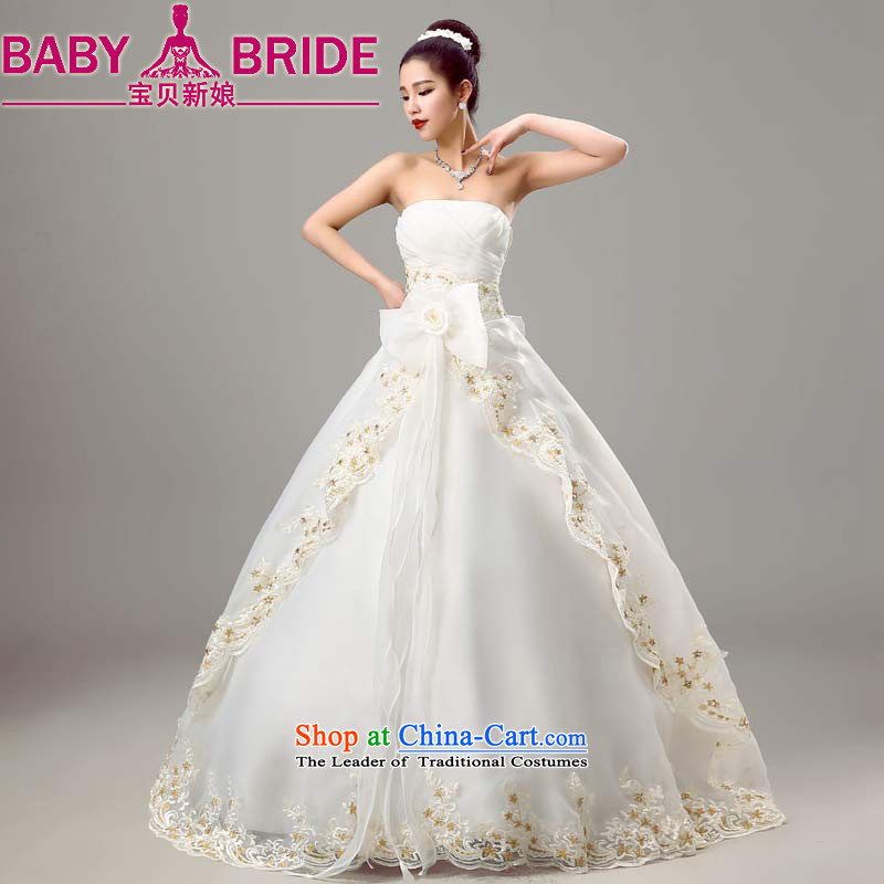 Baby bride wedding dresses 2015 new spring and summer stylish graphics thin bride anointed chest Korean Sau San wedding white聽S