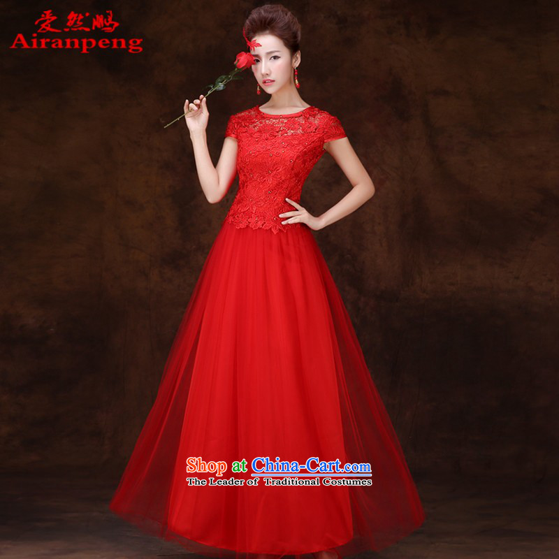 2015 new red long marriages wedding dresses evening dresses female bows services bridesmaid services winter evening dress short-sleeved long?L package returning