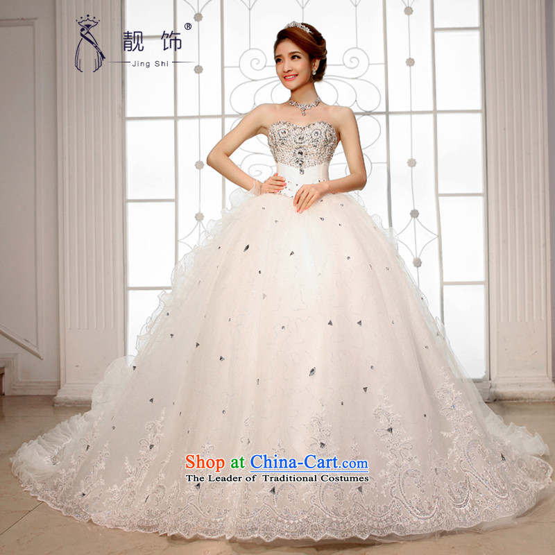 The new international friendship 2015 wedding dresses and chest Korean Deluxe Big tail wedding high water drilling tail wedding large white tail S