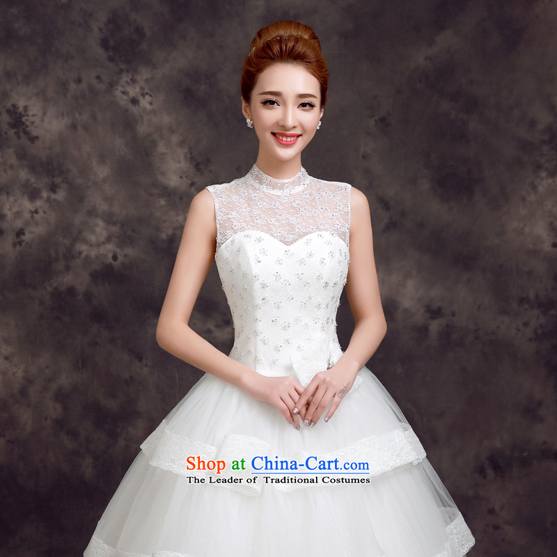 The privilege of serving-leung, the summer and fall of 2015, the new bride dress to align the lace shoulders Korean Sau San video thin marriage wedding White 2XL