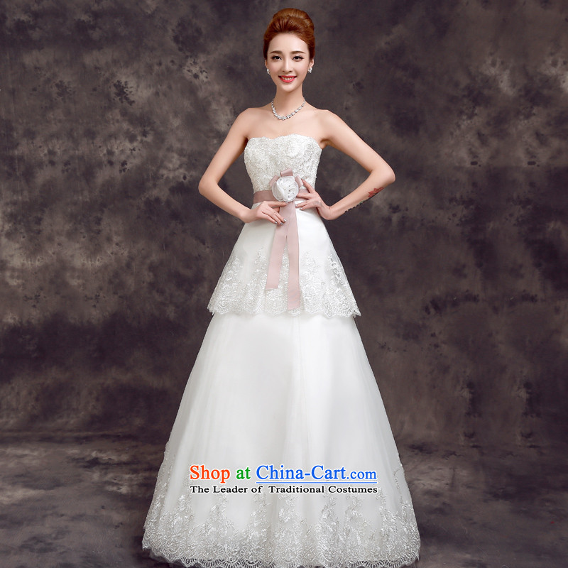 Korean brides wedding dress the summer and autumn of 2015 the new trendy wiping the chest to align the minimalist Sau San wedding white�L