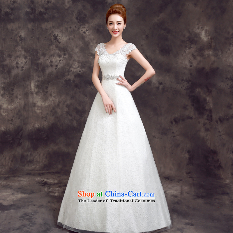 The summer and fall of 2015, the new bride Korean style wedding dress stylish Sau San lace shoulders to align the wedding White?2XL