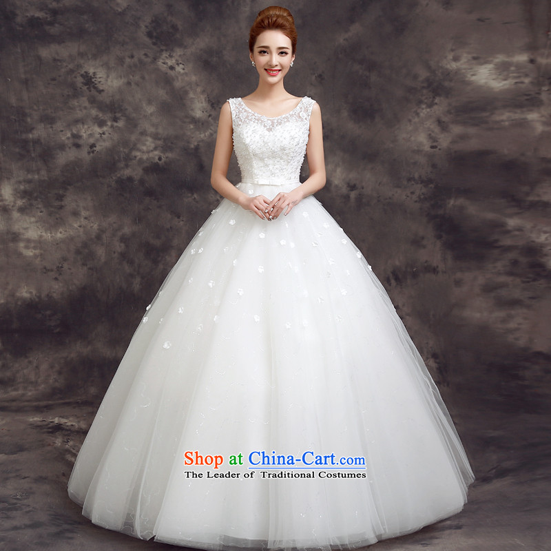The privilege of serving-leung 2015 new bride spring and summer wedding dress Korean fashion lace shoulders align to Sau San Wedding White?2XL