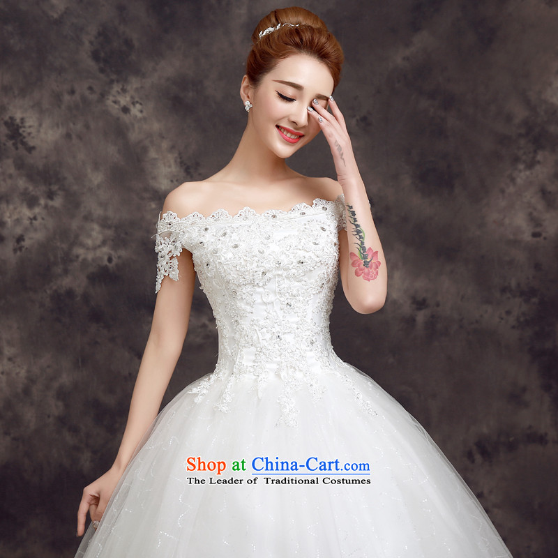 The privilege of serving the new 2015-Leung Chiu-Korean brides stylish wedding dress sexy lace a field to align the shoulder wedding white�S