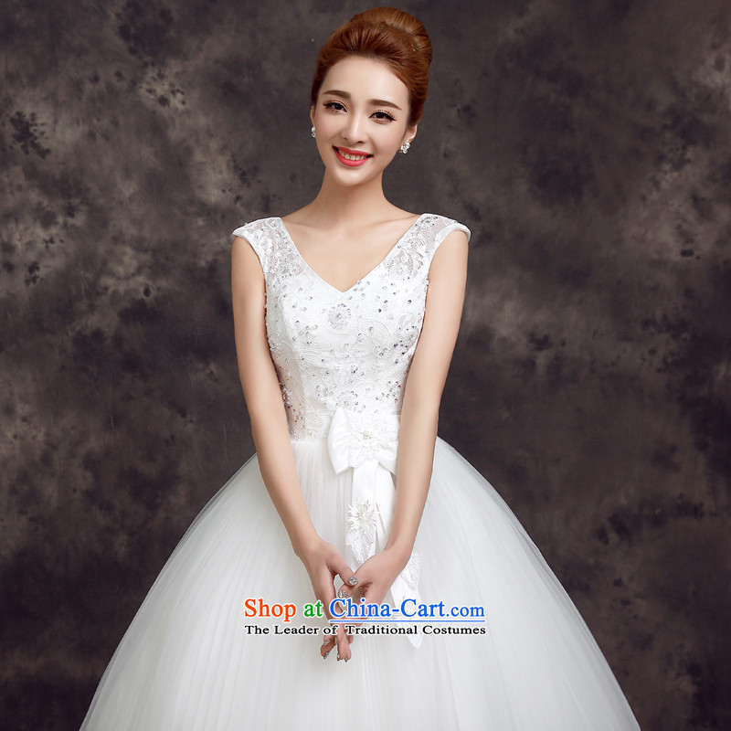 The privilege of serving-leung, the summer and fall of 2015, the new bride stylish wedding dress Korean lace shoulders to align the Sau San Wedding White?2XL
