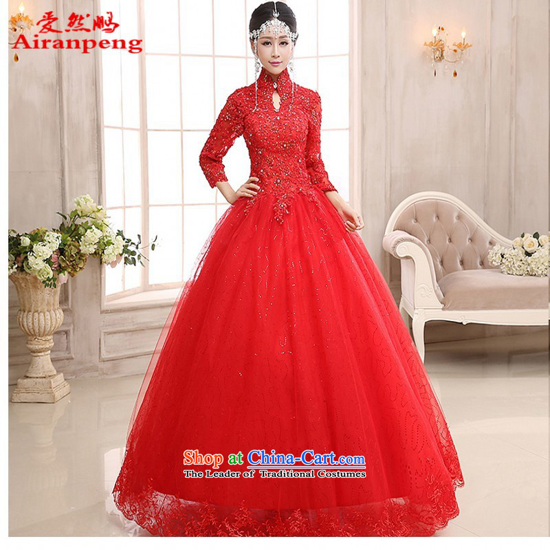 Long-sleeved wedding dresses new 2015 winter thick red pregnant women wedding Korean style package to align the shoulder lace large�XXL do not need to return