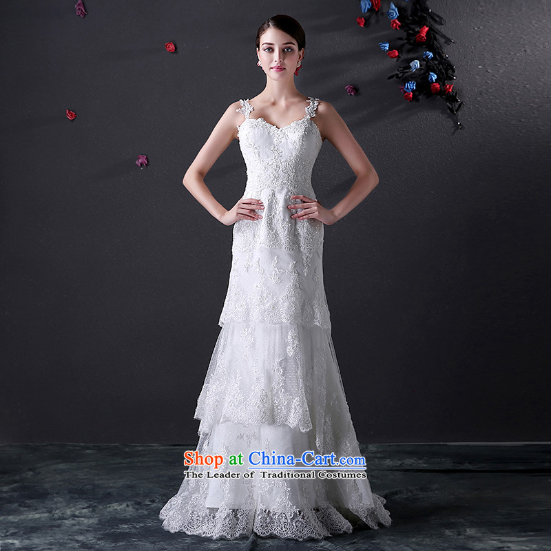 Custom dressilyme wedding by 2015 new lace straps with a straight skirt cake Sau San wedding retro elegant lace bridal dresses ivory - no spot 25 day shipping tailored