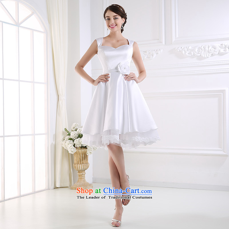 Custom dressilyme wedding by 2015 new strap satin short, Lumbar A petticoats wedding back manually take bride dress ivory - no spot 25 day shipping聽M