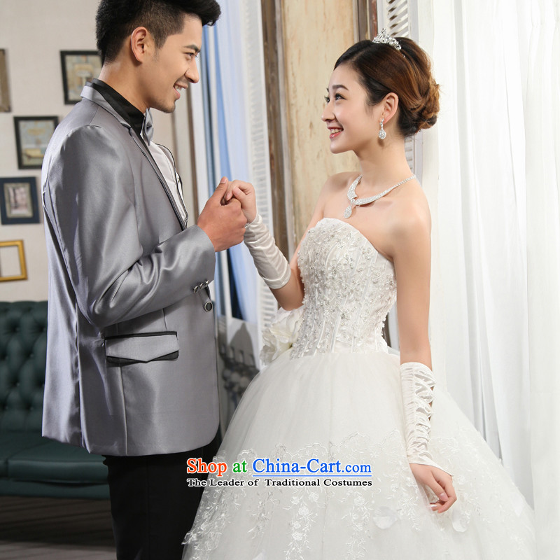 Wedding dresses new 2015 Korean anointed chest white video thin princess align Sau San, bon bon skirt White聽XL