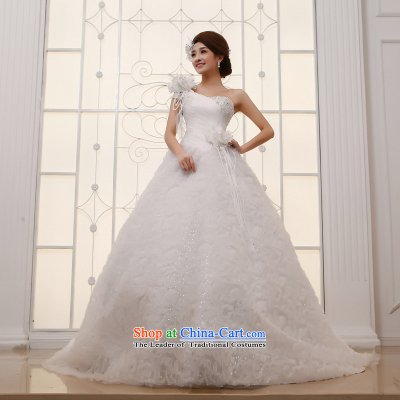 Wedding dress 2015 new large tail Korean shoulder sweet Princess Deluxe long tail white L