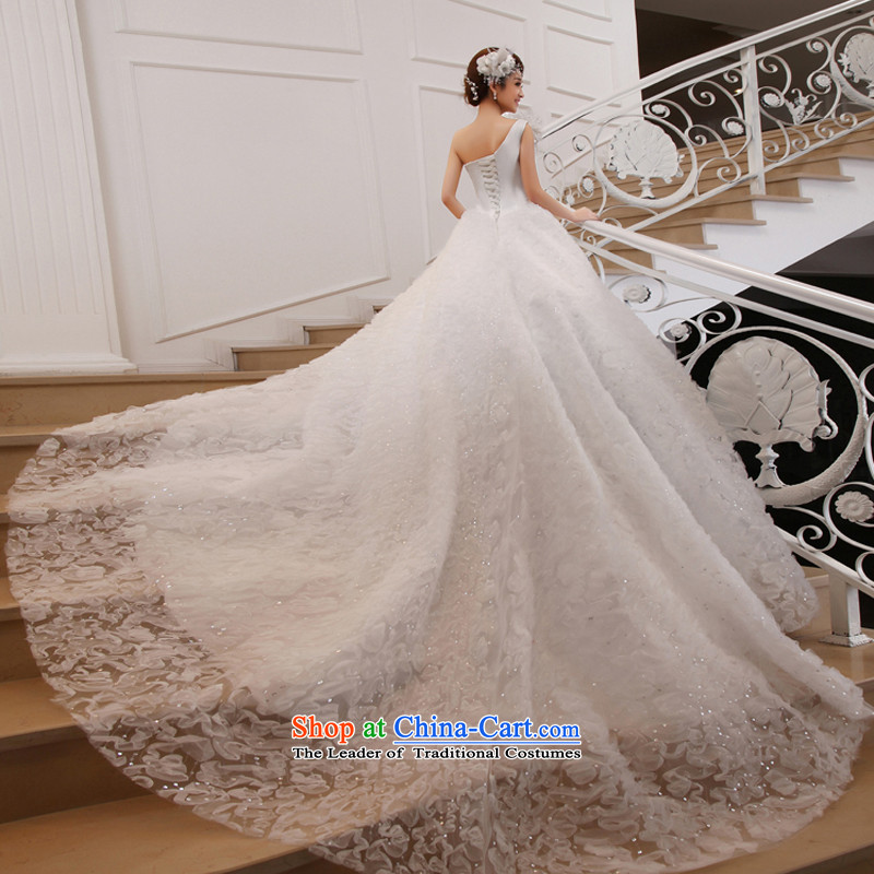Wedding dress 2015 new large tail Korean shoulder sweet Princess Deluxe long tail white聽L, the married arts , , , Yue shopping on the Internet