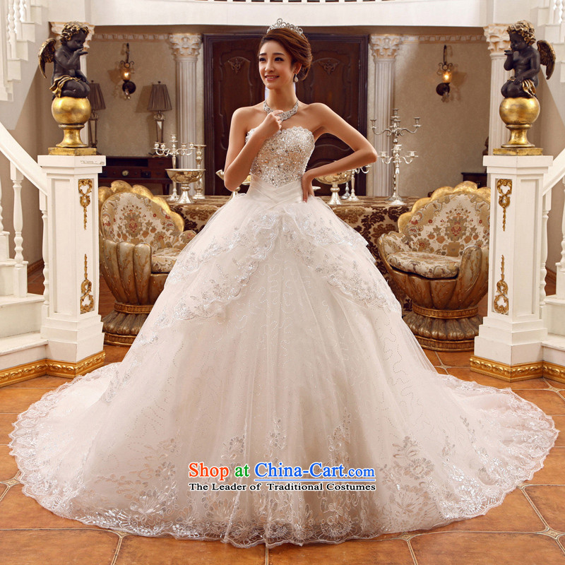 Wedding dress 2015 new white long tail bride Korean Deluxe water drilling and chest tail White聽XL