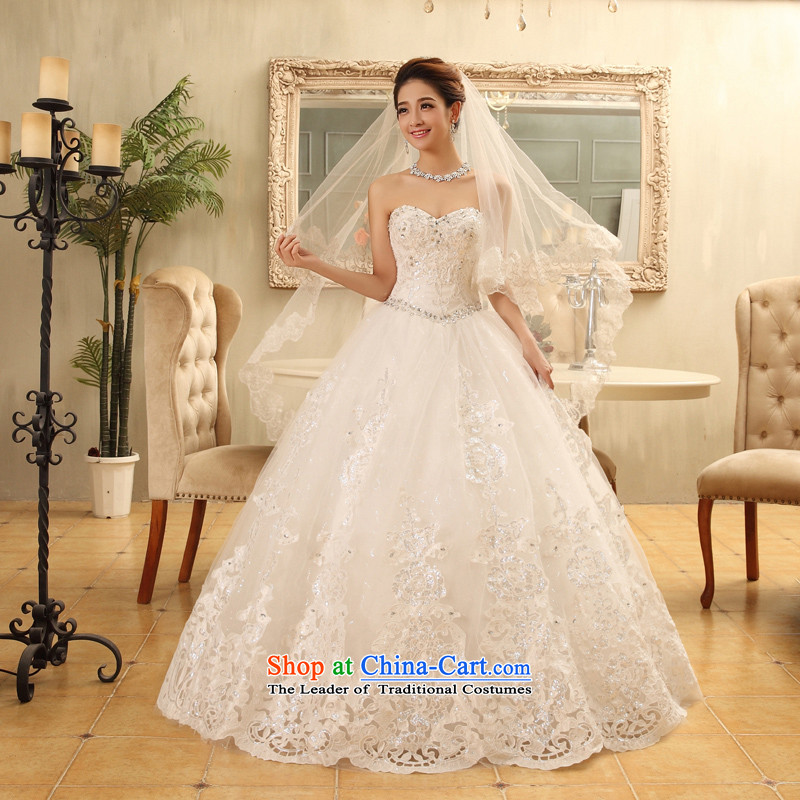 Wedding dresses new spring and summer 2015 Korean brides to align the white slim body diamond anointed chest white?S